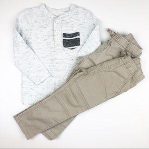 Cat & Jack Skinny Khaki Pants & Shirt Bundle 3T